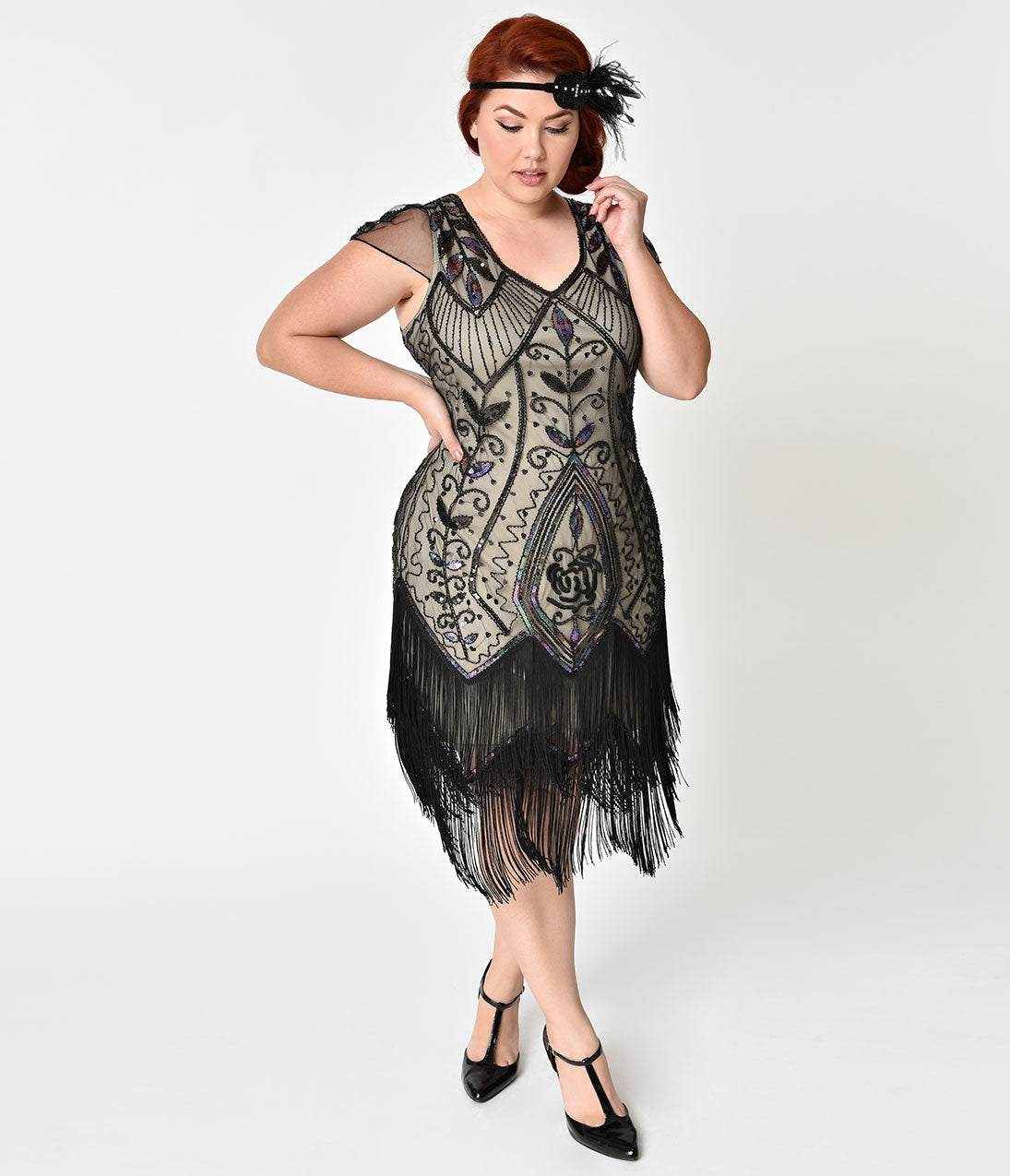 1920s Style Dresses, Flapper Dresses Unique Vintage Plus Size 1920S Black Rose  Champagne Noele Fringe Flapper Dress $98.00 AT vintagedancer.com
