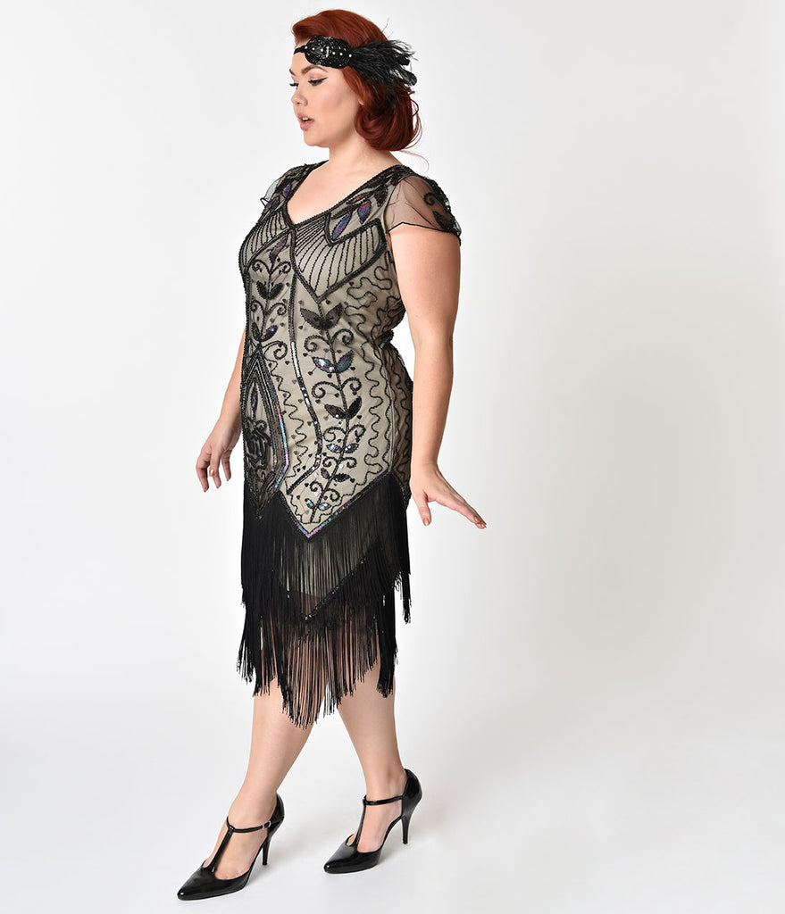 Unique Vintage Plus Size 1920s Black Rose & Champagne Noele Fringe Flapper Dress