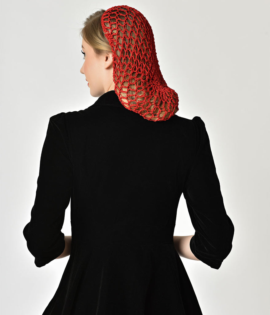 Vintage Style Red Crochet Hair Snood