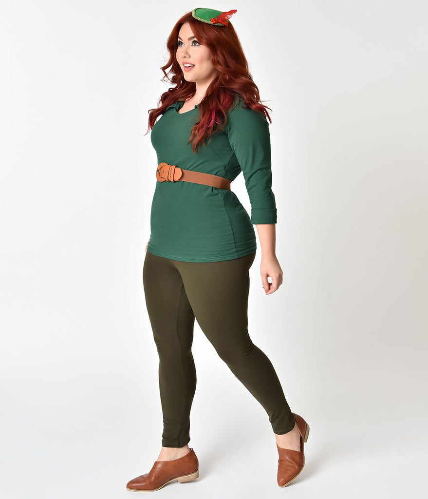 Plus Size Olive Green Fitted High Waist Stretch Leggings
