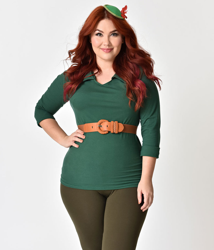 Plus Size Retro Style Green Cotton Stretch Three-Quarter Sleeve Blouse
