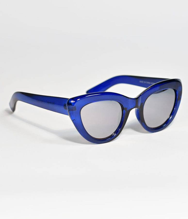 Crystal Blue Whew Cat Eye Sunglasses