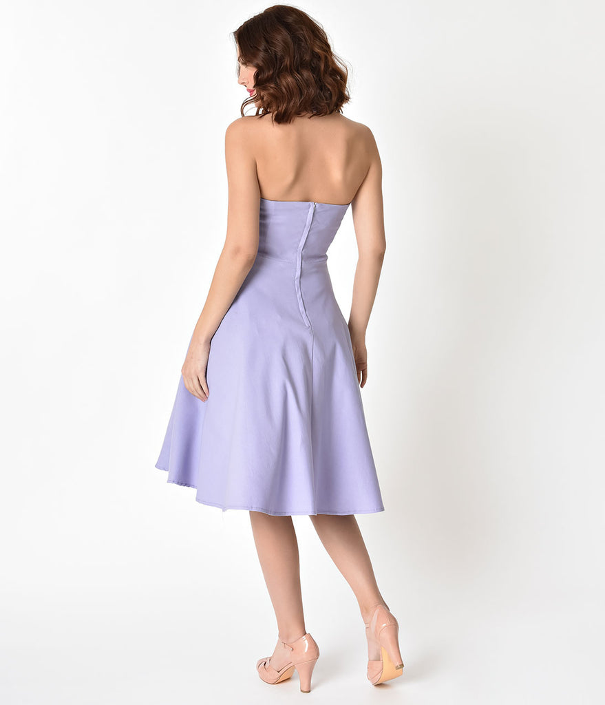 Unique Vintage 1950s Light Purple Cross Halter Rita Flare Dress