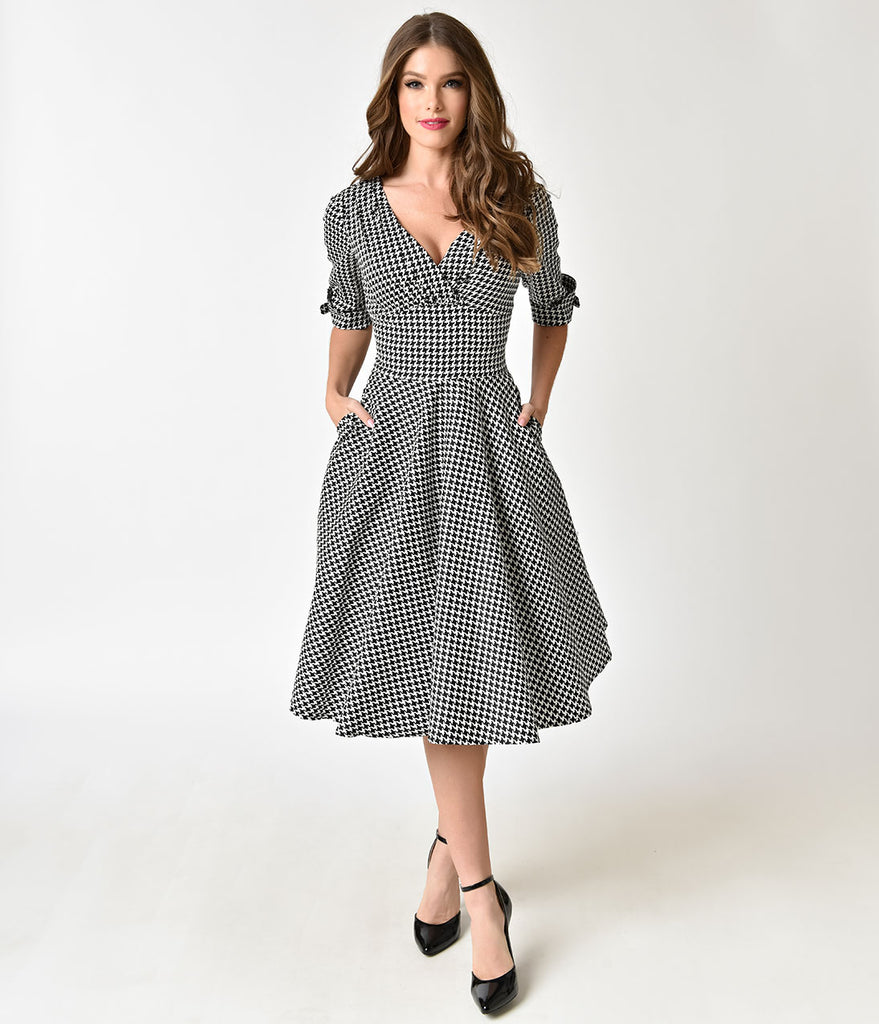 Unique Vintage 1950s Black & White Houndstooth Delores Swing Dress with Sleeves