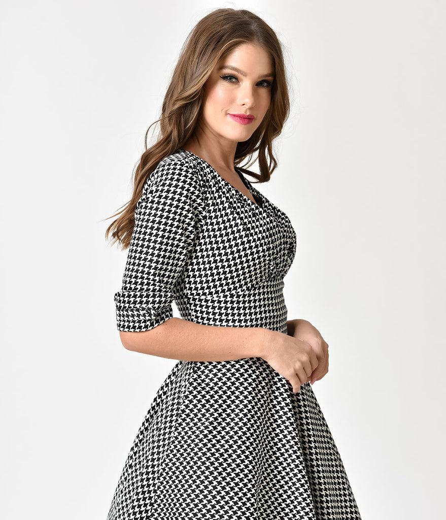 ab941167cf3ec0 ... Unique Vintage 1950s Black   White Houndstooth Delores Swing Dress with  Sleeves ...