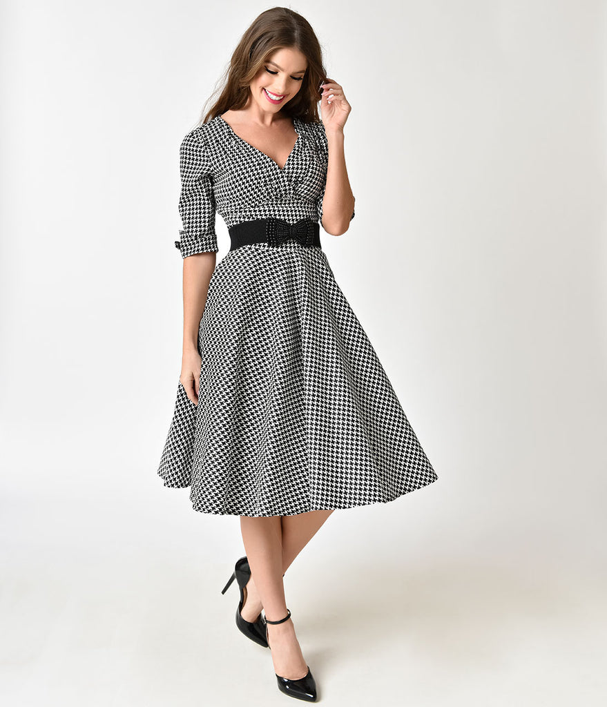 6df5304c3f9dc6 ... Unique Vintage 1950s Black   White Houndstooth Delores Swing Dress with  Sleeves