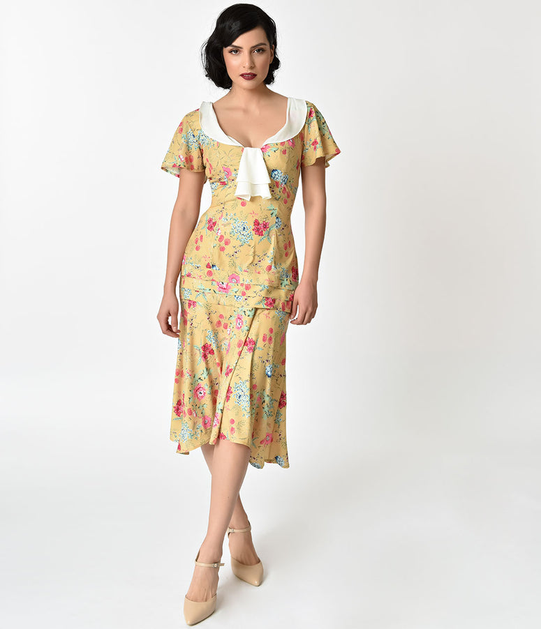 Unique Vintage 1920s Style Yellow Wildflower Print Wilshire Flapper Day Dress