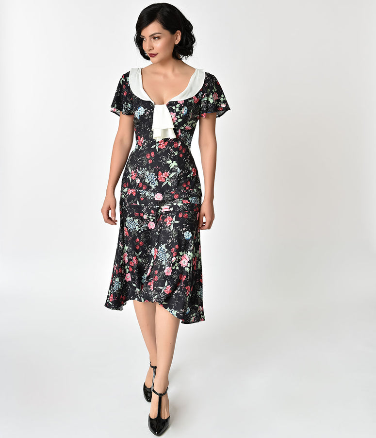 Unique Vintage 1920s Style Black Wildflower Print Wilshire Flapper Day Dress