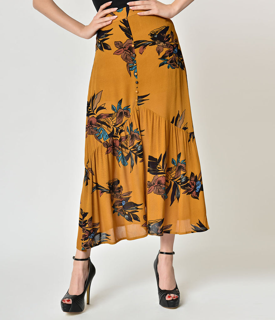 Retro Style Mustard & Floral Print Cotton Skirt