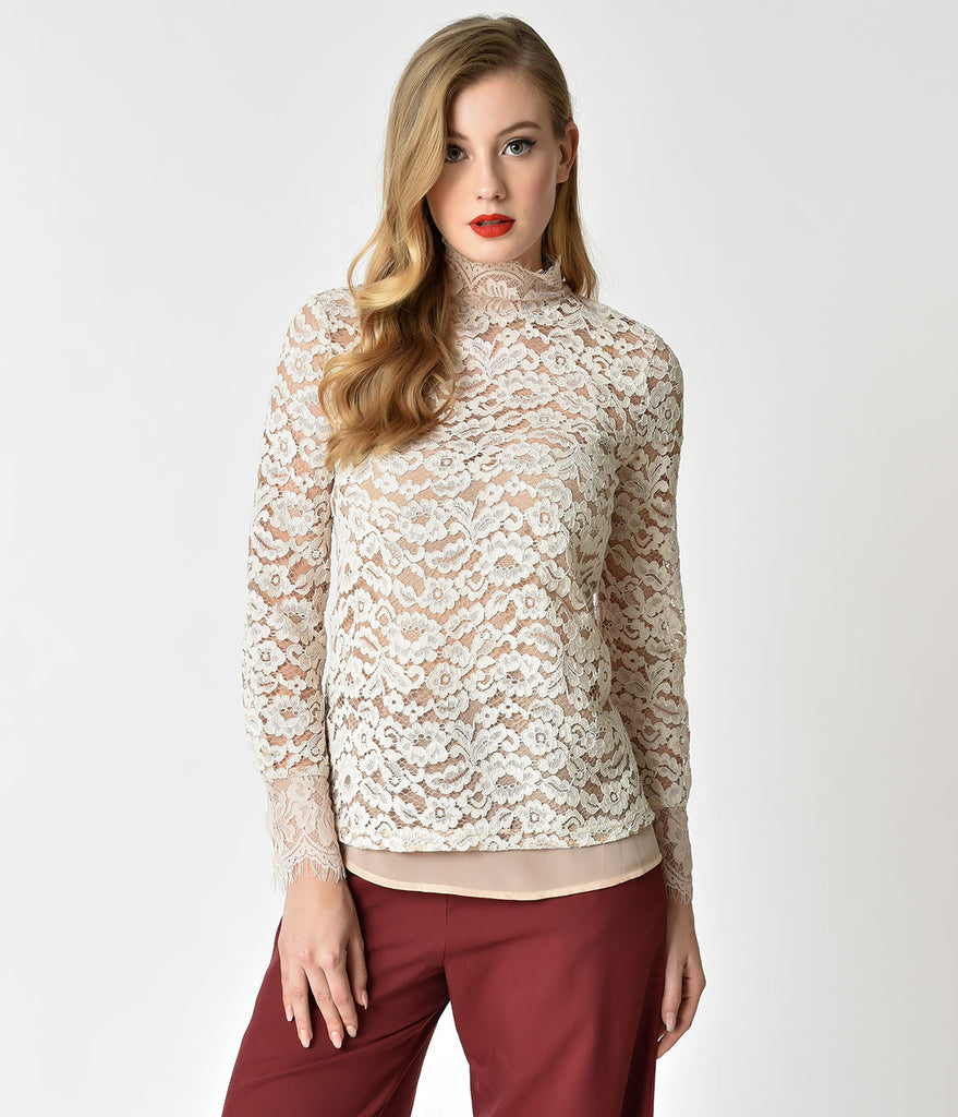Ivory Floral Lace Long Sleeve Turtle Neck Top