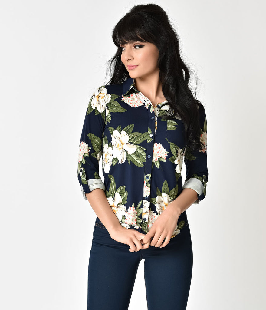 Navy Blue & Ivory Floral Print Button Up Blouse