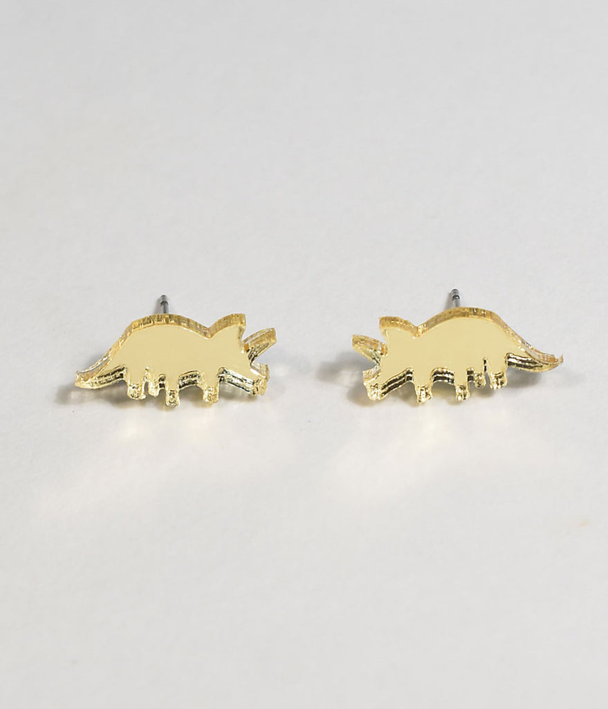 Gold Mirror Triceratops Stud Earrings
