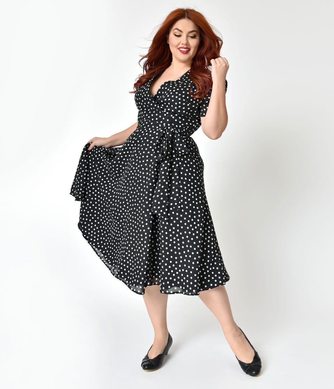 Vintage Polka Dot Dresses – 50s Spotty and Ditsy Prints The Pretty Dress Company Plus Size 1940S Black  Ivory Polka Dot Wrap Dress $147.00 AT vintagedancer.com