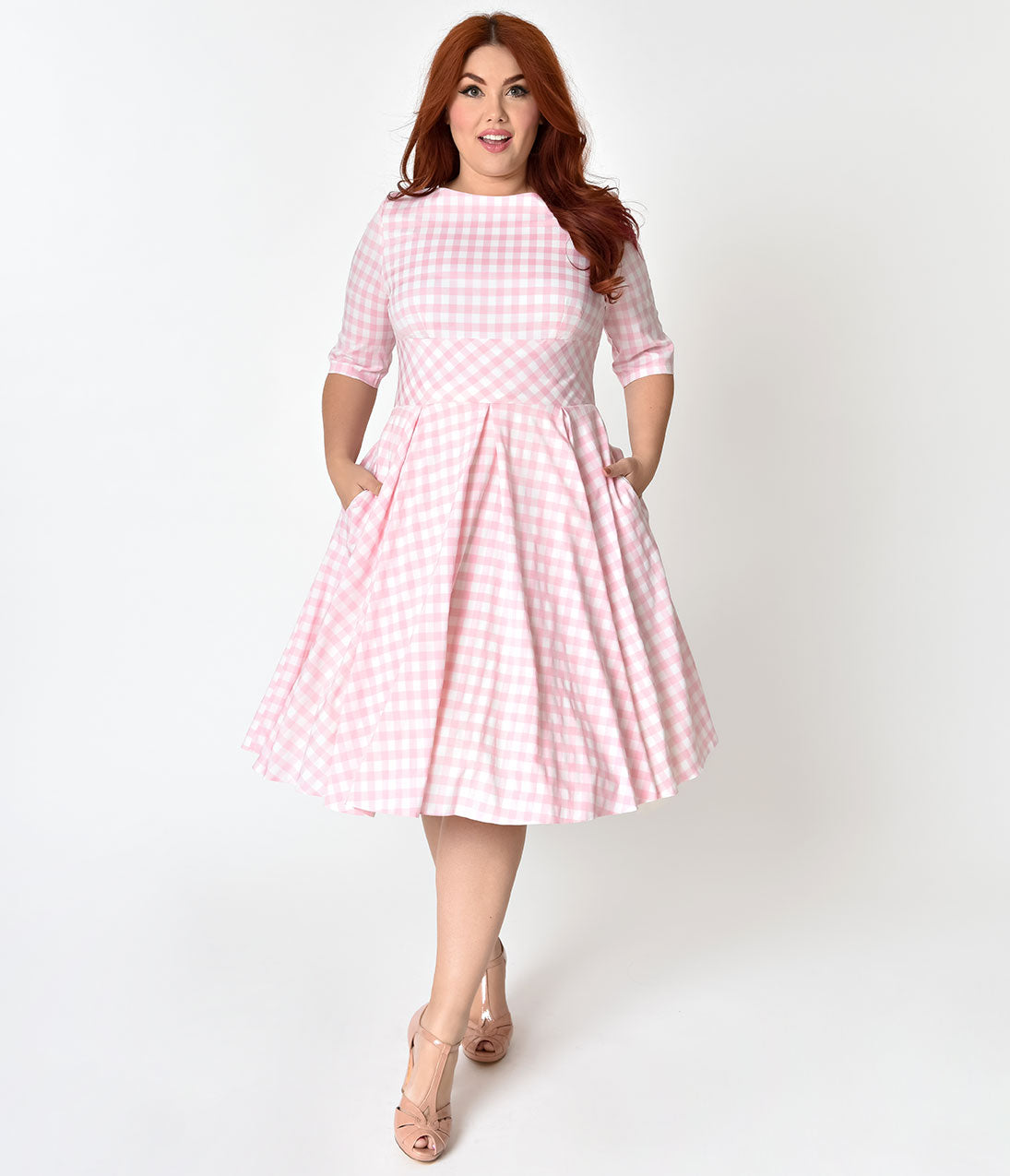 Plus Size Swing Dresses, Vintage Dresses The Pretty Dress Company Plus Size Pink  White Gingham Hepburn Swing Dress $146.00 AT vintagedancer.com
