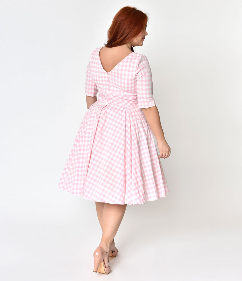 The Pretty Dress Company Plus Size Pink & White Gingham Hepburn Swing Dress