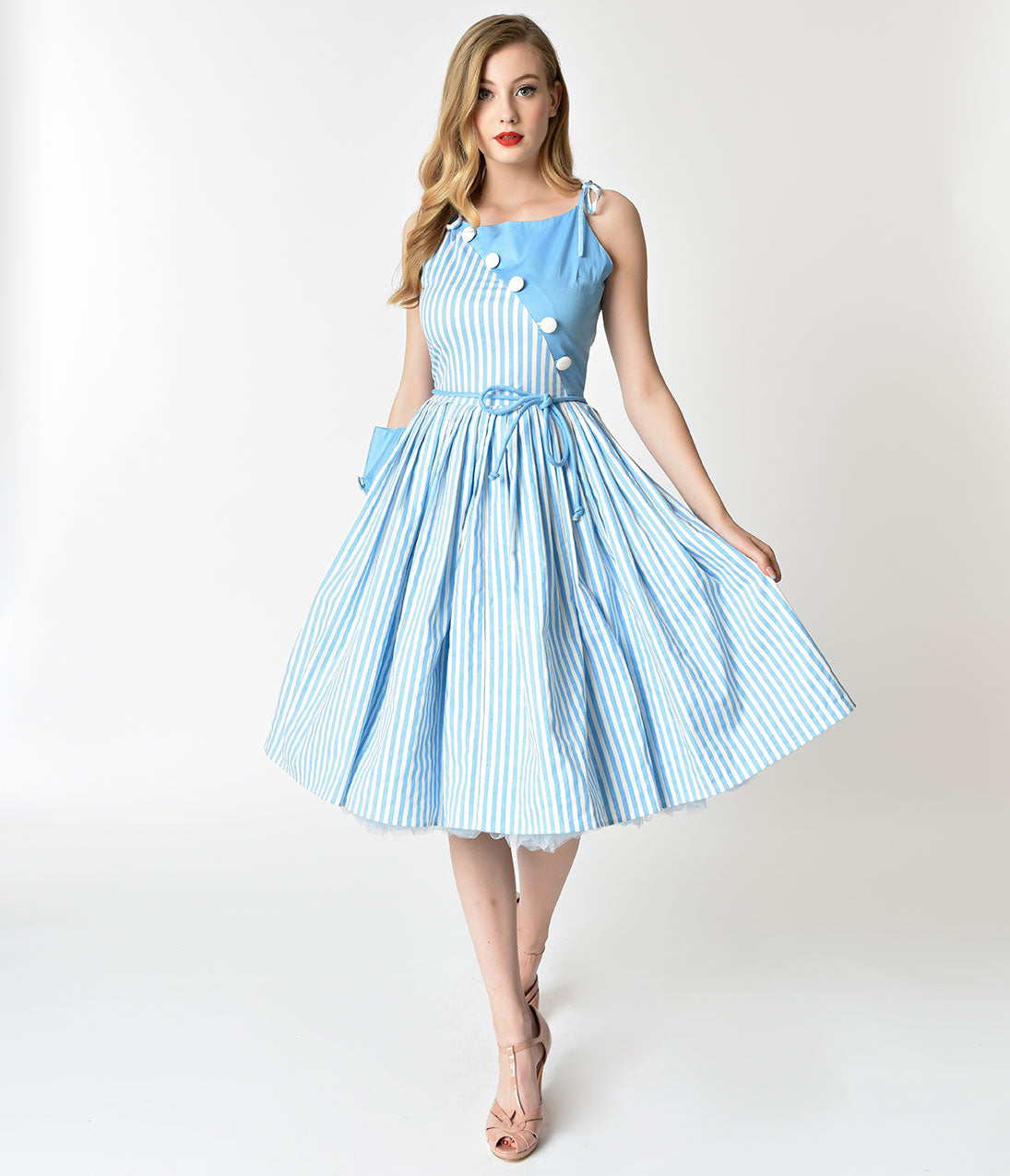 1950s Inspired Fashion: Recreate the Look Unique Vintage 1950S Style Light Blue  White Stripe Hamilton Swing Dress $98.00 AT vintagedancer.com