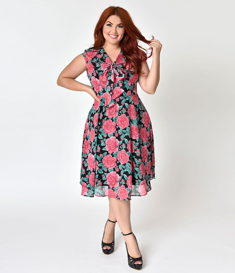 Hell Bunny Plus Size Black & Rose Print Chiffon Eden Swing Dress