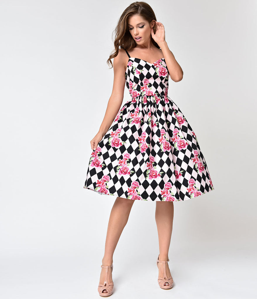 Hell Bunny Black & Pink Harlequin Floral Swing Dress