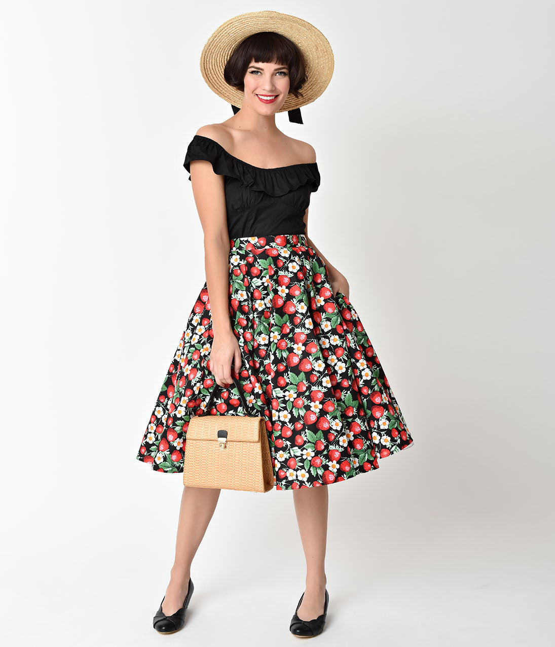 Rockabilly Dresses | Rockabilly Clothing | Viva Las Vegas Hell Bunny Black Strawberry Sundae Rockabilly Swing Skirt $52.00 AT vintagedancer.com