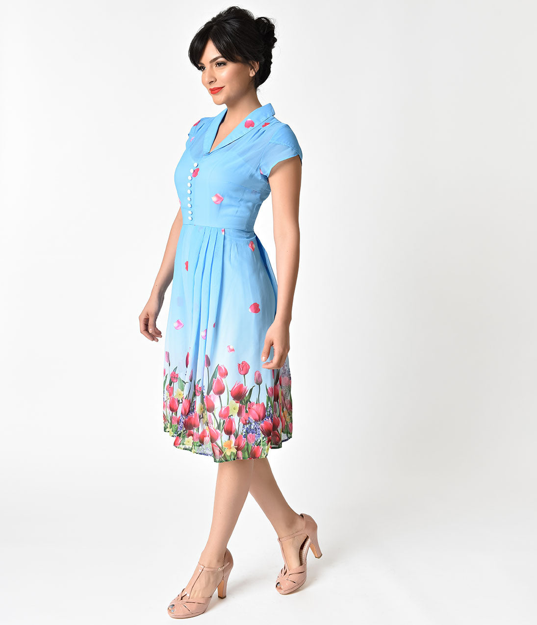 1940s Style Dresses | 40s Dress, Swing Dress Hell Bunny Blue Tulip Print Bethany Chiffon Swing Dress $98.00 AT vintagedancer.com
