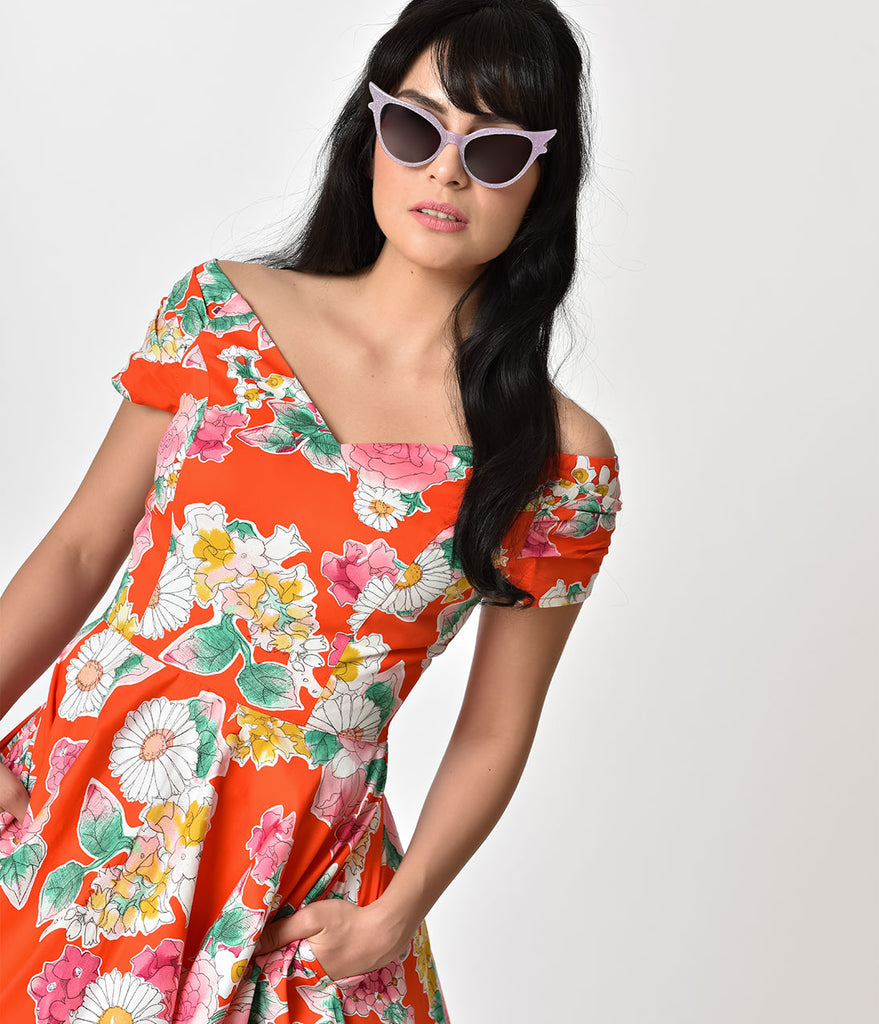 Hell Bunny Orange & Floral Print Marguerita Cotton Swing Dress