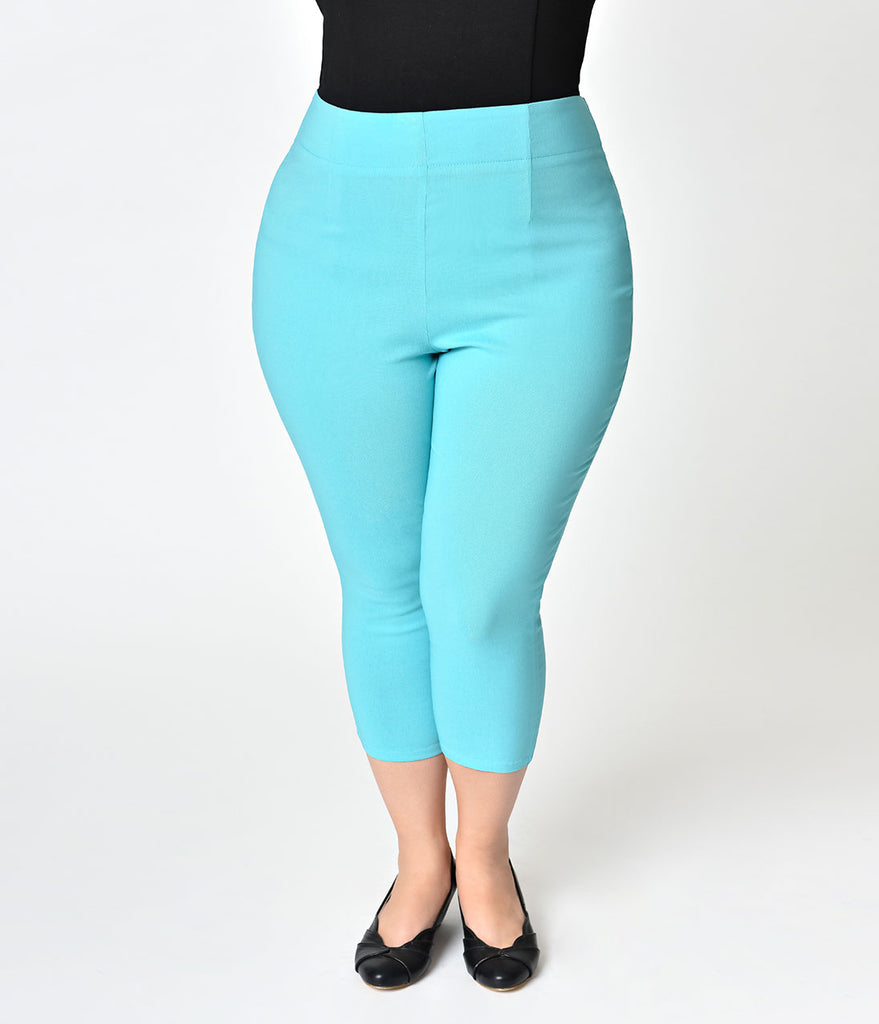 Hell Bunny Plus Size Retro Style Turquoise Tina High Waist Stretch Capri Pants