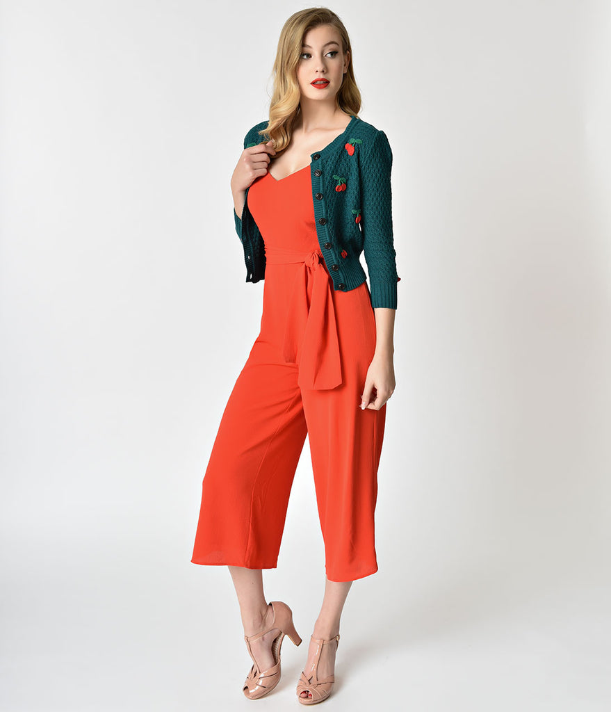Retro Style Red Spaghetti Strap Poppy Jumpsuit
