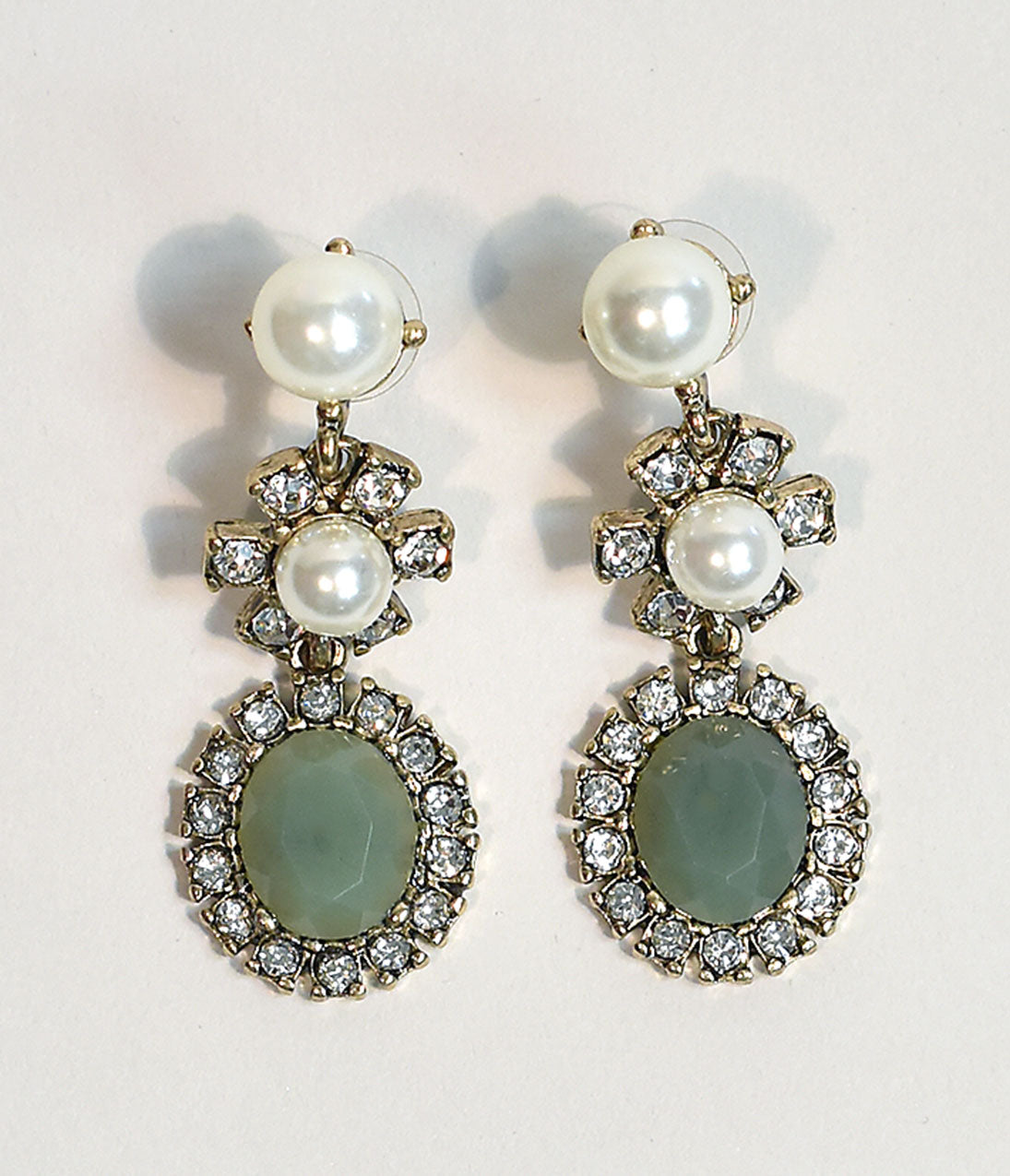 50s Jewelry: Earrings, Necklace, Brooch, Bracelet Pale Green Gem  Ivory Pearls Drop Earrings $22.00 AT vintagedancer.com