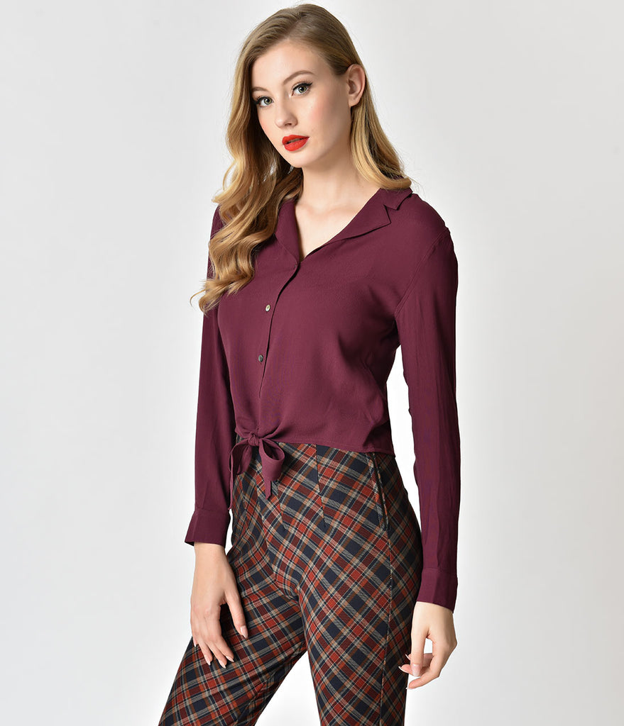 Retro Style Eggplant Button Up Long Sleeve Tie Blouse