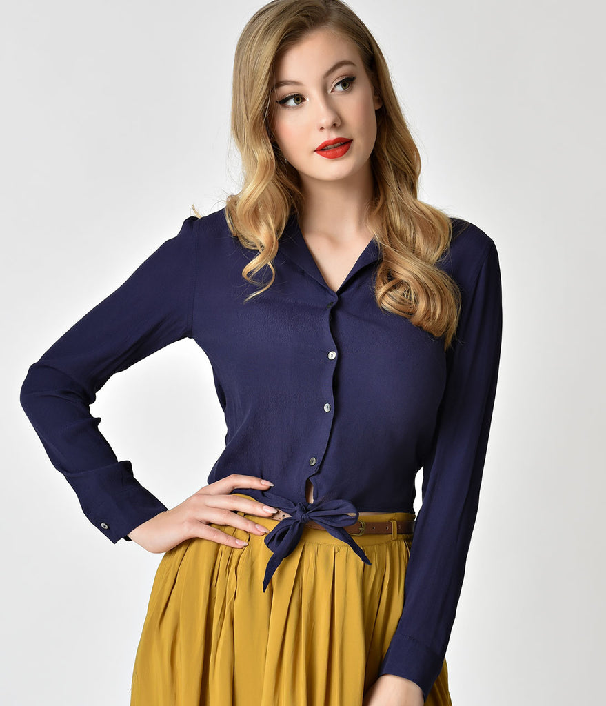 Retro Style Navy Blue Button Up Long Sleeve Tie Blouse