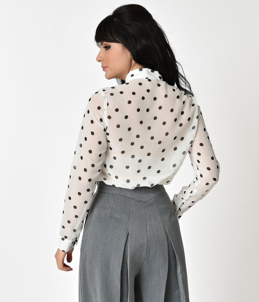 White & Black Polka Dot Neck Bow Button Up Chiffon Blouse