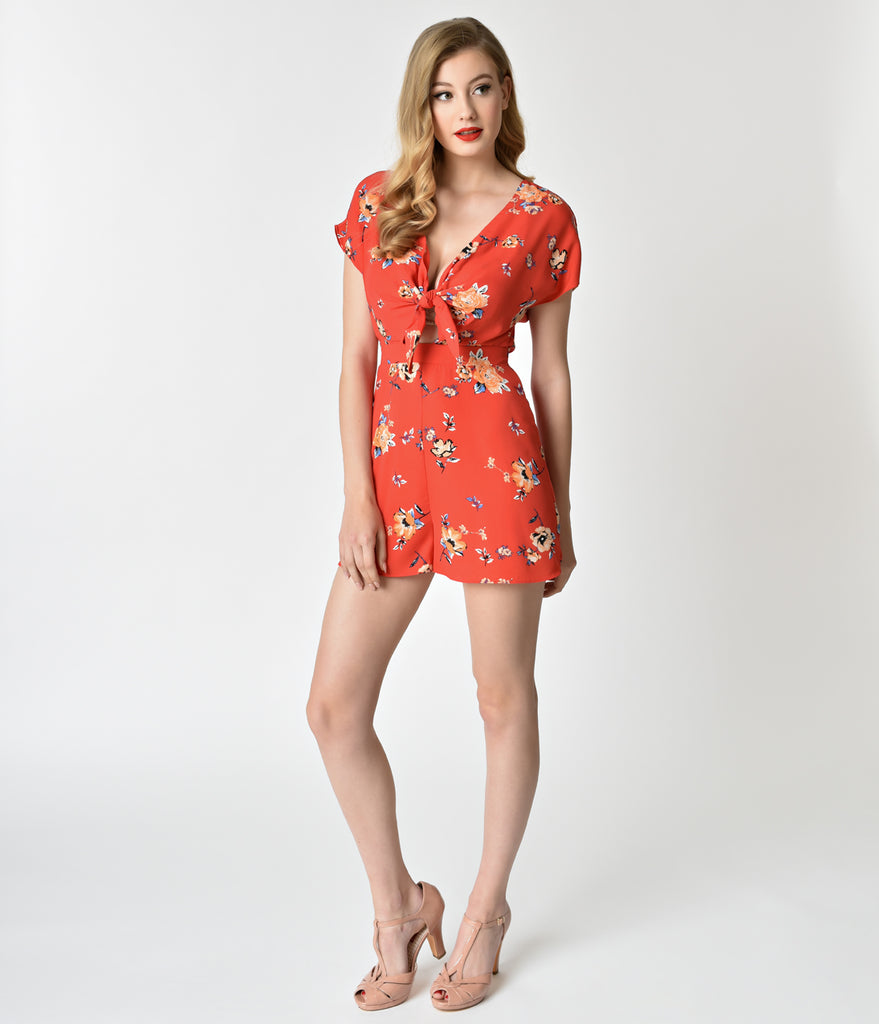 Red & Floral Print Tie Front Chiffon Romper