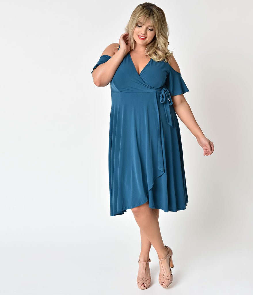 Vintage Style Plus Size Teal Cold Shoulder Swing Dress – Unique Vintage