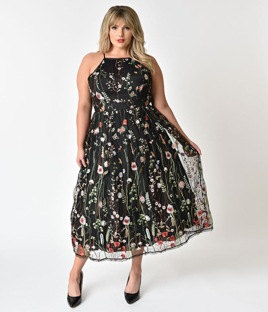 Plus Size Black & Floral Embroidered Mesh Swing Dress