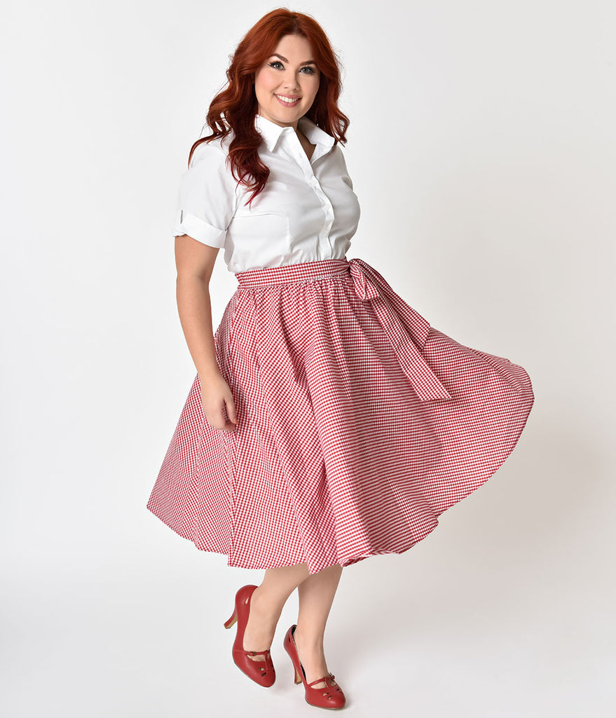 1950s Style Plus Size Red & White Gingham Swing Skirt