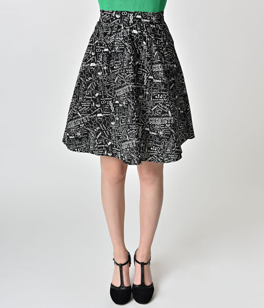 Folter Black & White Science Print A-Line Cotton Skirt