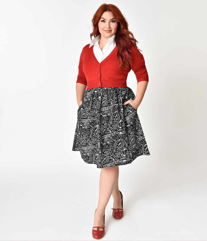 Folter Plus Size Black & White Science Print A-Line Cotton Skirt
