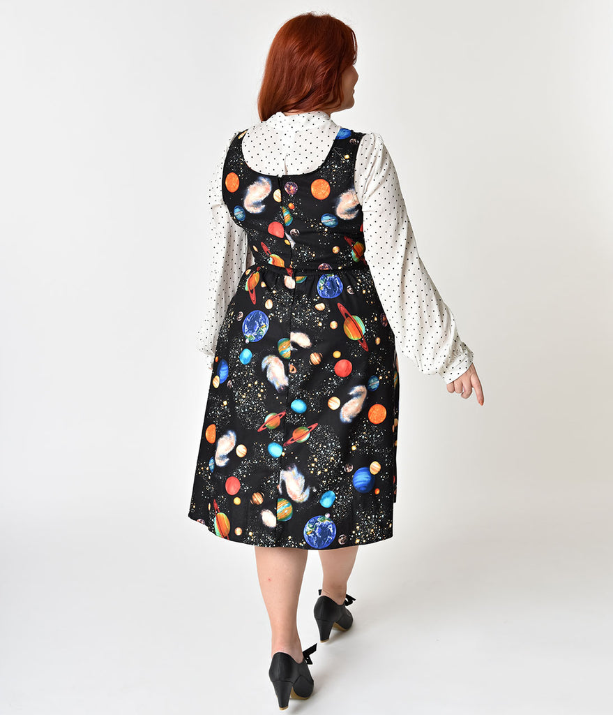 Folter Plus Size Black Out Of This World Cotton Swing Dress