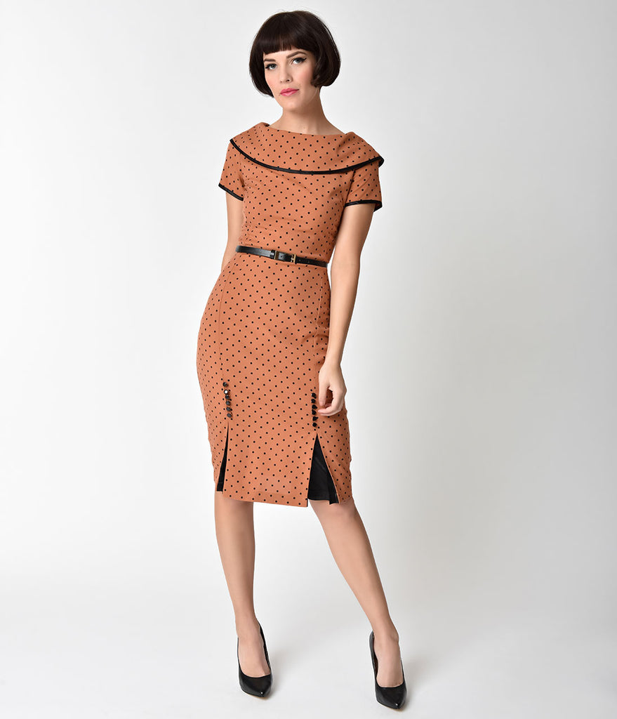 Iced Coffee Brown & Black Polka Dot Pencil Dress – Unique Vintage