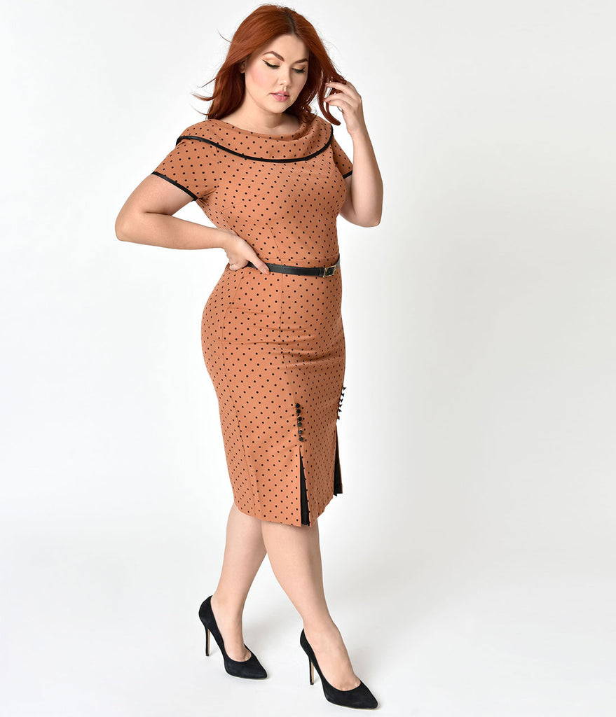 Plus Size Iced Coffee Brown & Black Polka Dot Pencil Dress