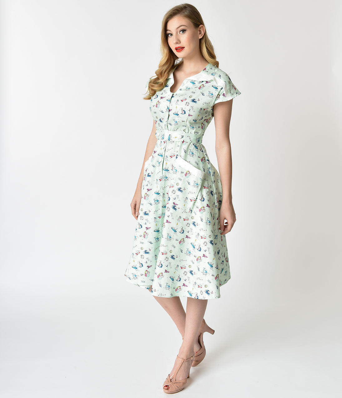 Vintage 50s Dresses: 8 Classic Retro Styles Unique Vintage 1950S Style Mint  Sailor Print Cap Sleeve Hedda Swing Dress $128.00 AT vintagedancer.com