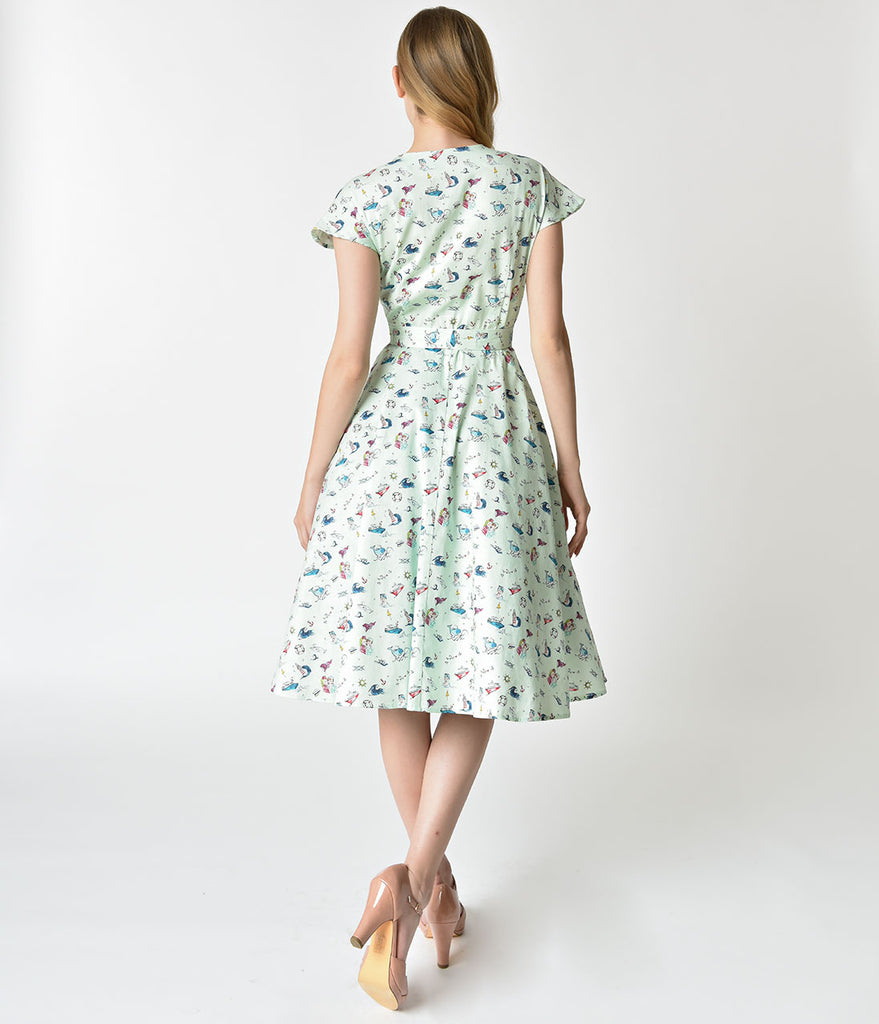 Unique Vintage 1950s Style Mint & Sailor Print Cap Sleeve Hedda Swing Dress