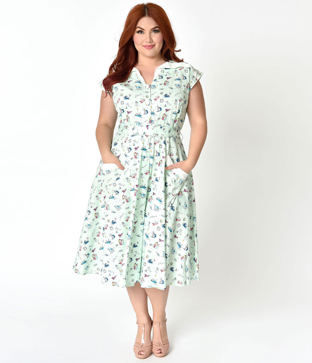 Pin Up Dresses | Pin Up Clothing Unique Vintage Plus Size 1950S Style Mint  Sailor Print Cap Sleeve Hedda Swing Dress $128.00 AT vintagedancer.com