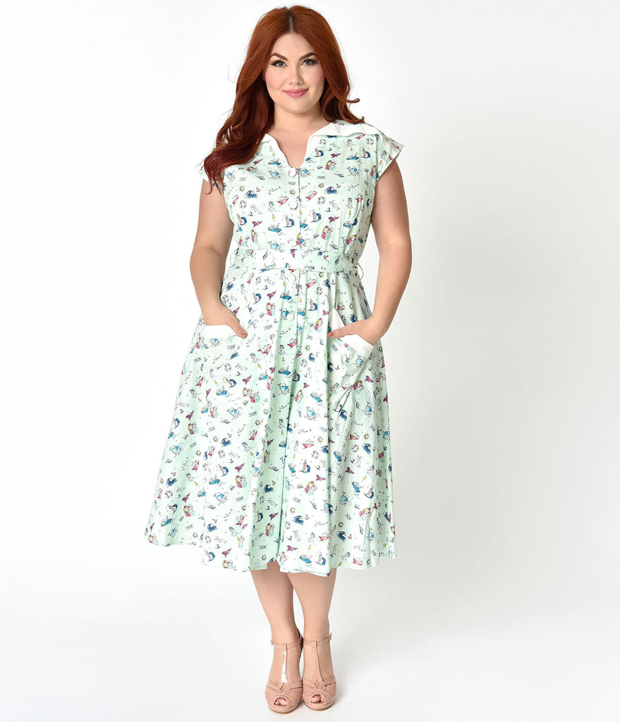 Unique Vintage Plus Size 1950s Style Mint & Sailor Print Cap Sleeve Hedda Swing Dress