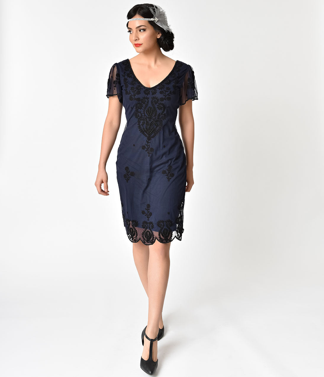 Roaring 20s Costumes- Flapper Costumes, Gangster Costumes Navy Blue  Black Embroidery Lillian Flapper Dress $62.00 AT vintagedancer.com