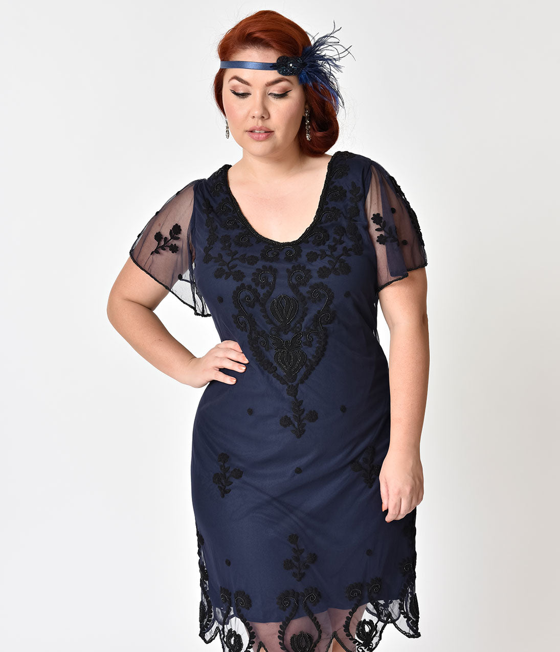Roaring 20s Costumes- Flapper Costumes, Gangster Costumes Plus Size Navy Blue  Black Embroidery Lillian Flapper Dress $78.00 AT vintagedancer.com
