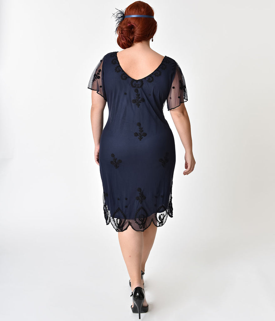 Plus Size Navy Blue & Black Embroidery Lillian Flapper Dress