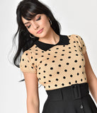 Tan & Black Polka Dot Cotton Knit Short Sleeve Sweater