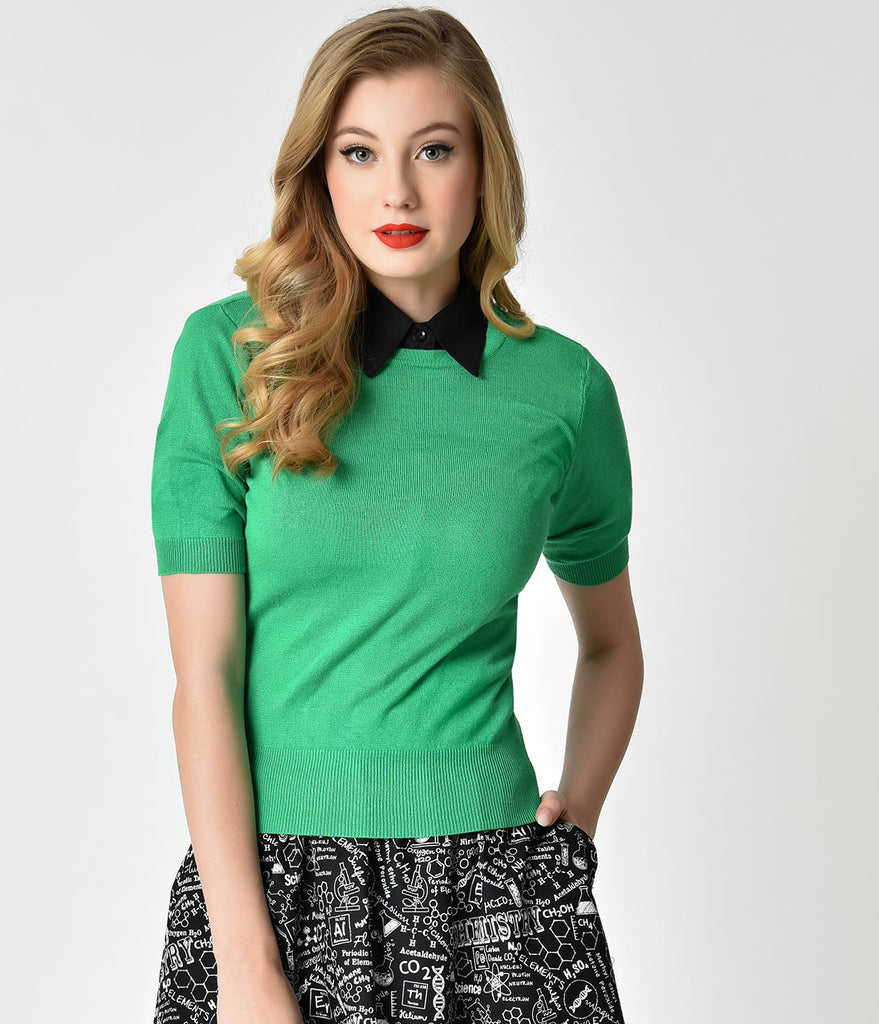 Vintage Style Green Short Sleeve Pull Over Sweater Top