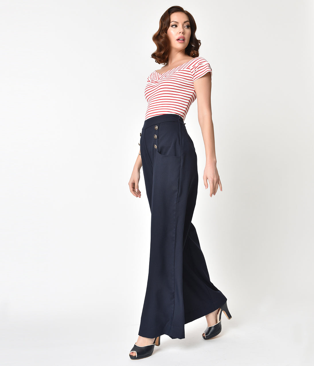 Rosie the Riveter Costume & Outfit Ideas Unique Vintage 1940S Style Midnight Blue High Waist Sailor Ginger Pants $68.00 AT vintagedancer.com